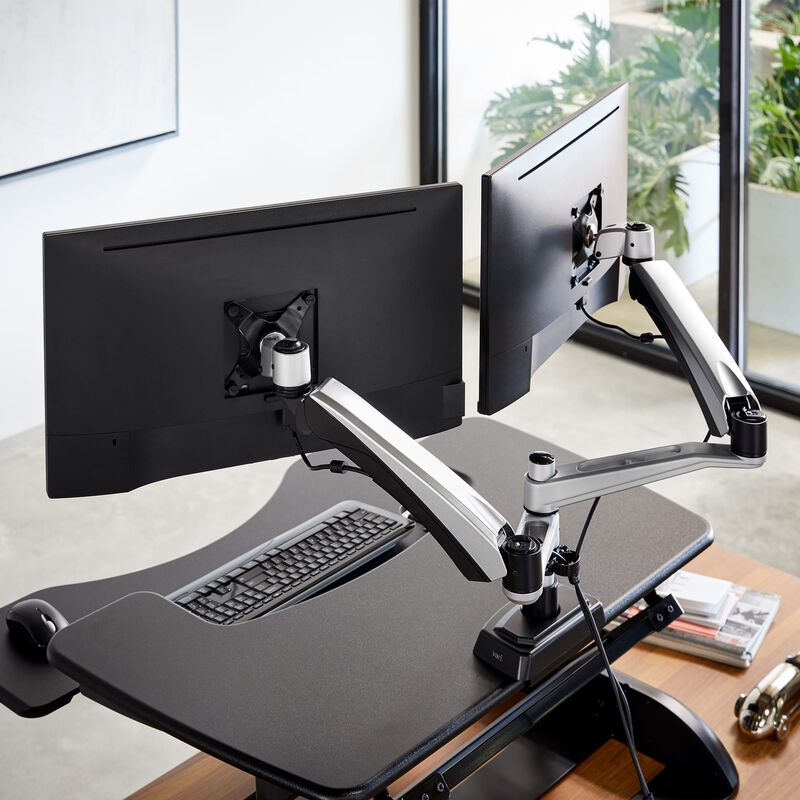 Dual-Monitor Arm stand with two monitors in office image number null