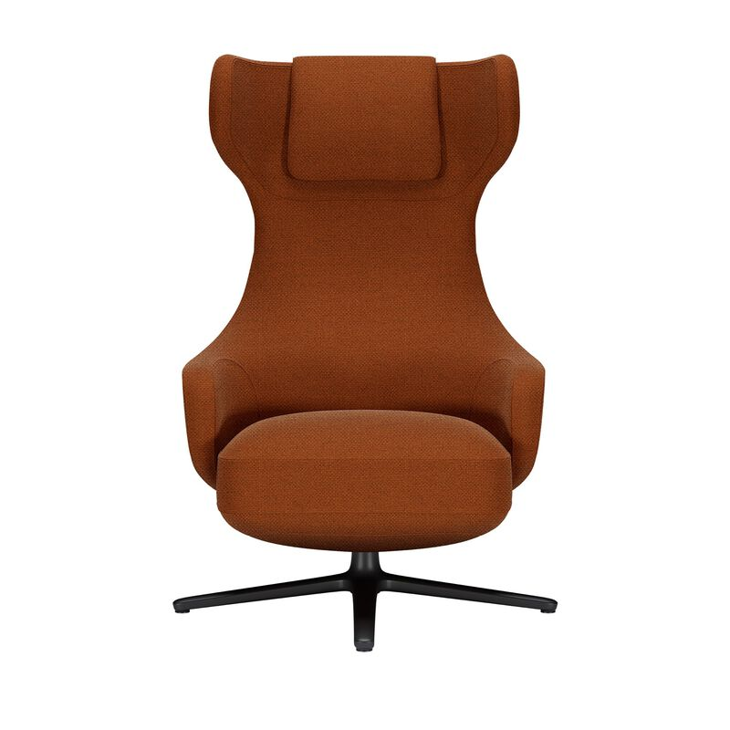 Burnt orange high back lounge chair on white background image number null