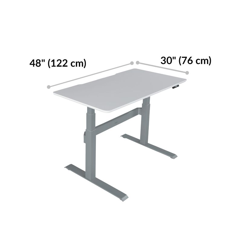 Electric Standing Desk 48x30 White base is 30 inches deep and 48 inches wide image number null