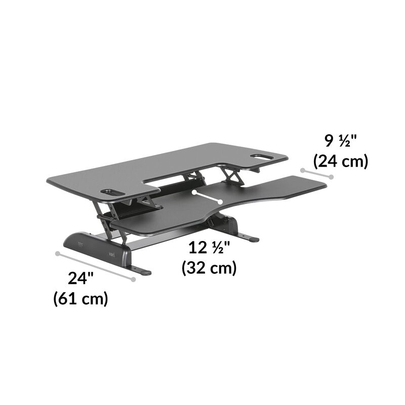 VariDesk Pro Plus 48 Black depth of desk base is 24 inches deep image number null