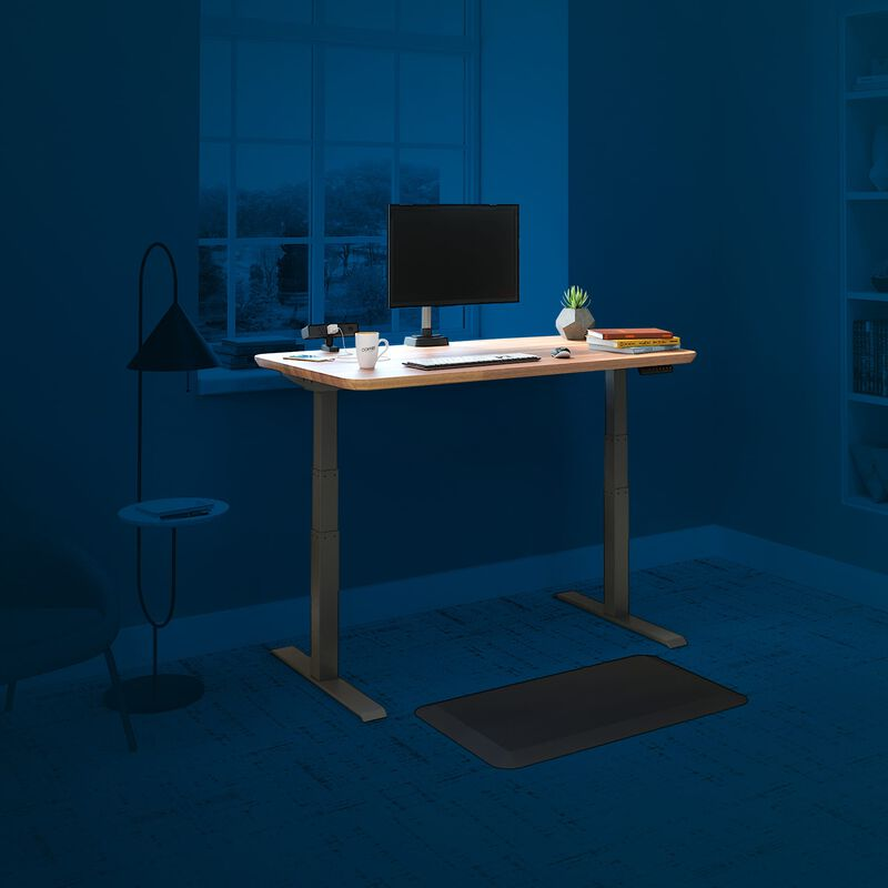 vari electric standing desk 48 by 30 in butcher block with blue background to show accessories image number null