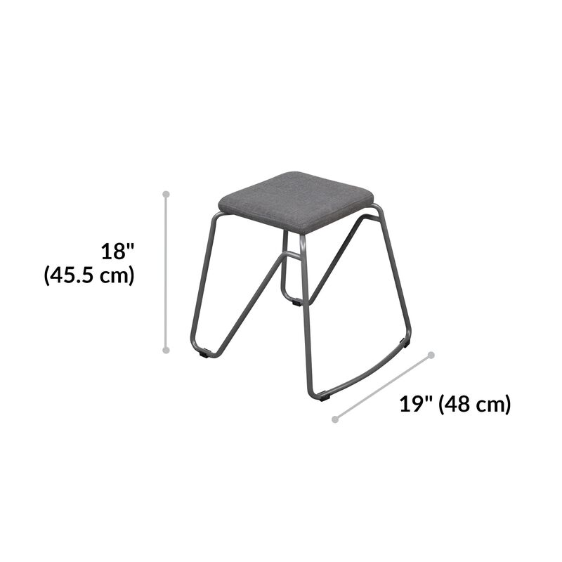 Stool in Slate dimensions, 18 inches tall and 19 inches wide image number null
