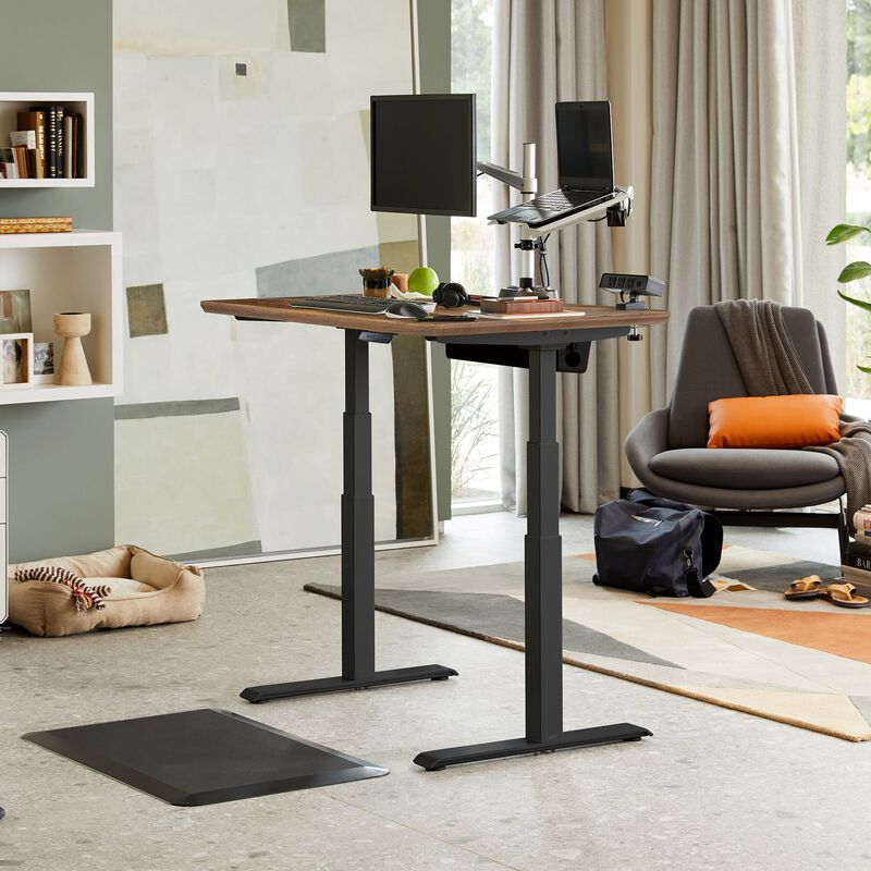 Electric Standing Desk 48x30 Reclaimed Wood in raised position at home image number null