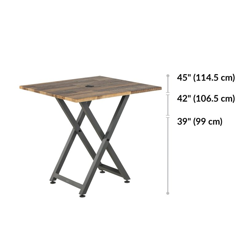 Standing Meeting Table Reclaimed Wood adjustments range from 39 to 45 inches tall image number null