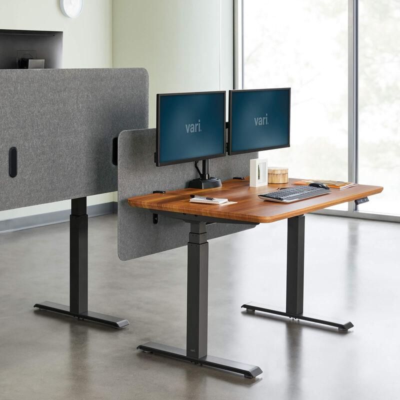 Vari felt panel 48 inch in light gray mounted on desk in office setting image number null