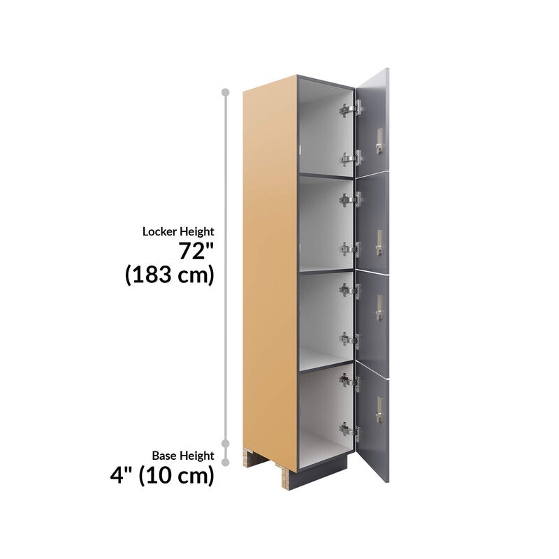 four tier locker height is 72 inches and base height is 4 inches image number null