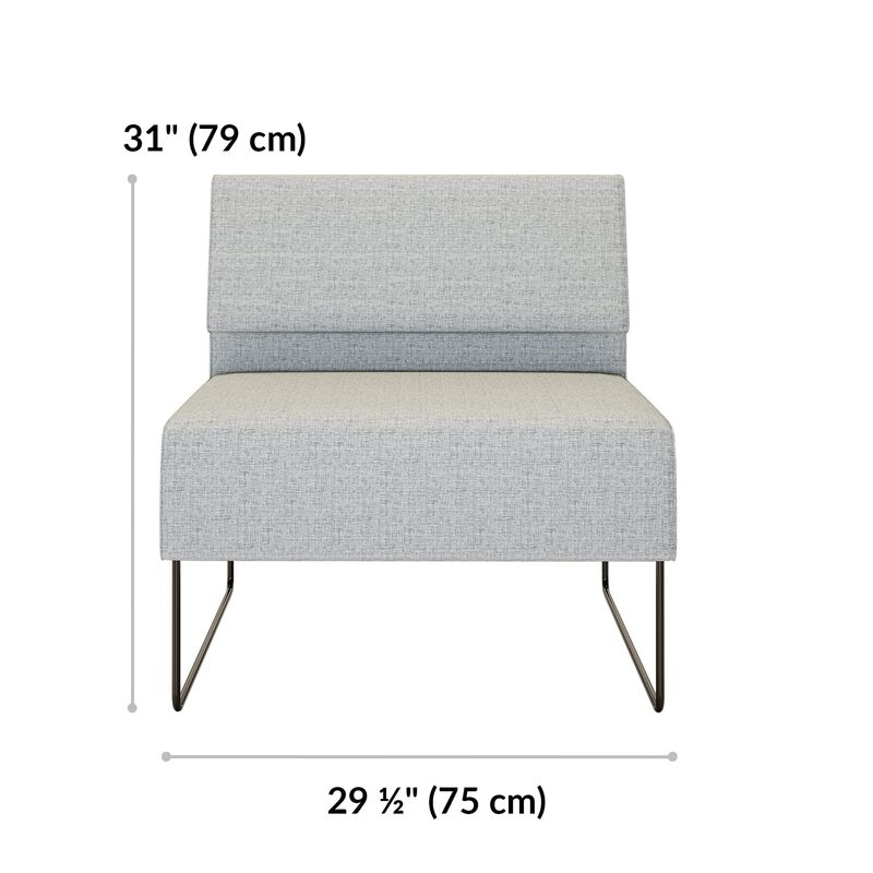 light grey armless seat is 31 inches tall and 29 and a half inches wide image number null