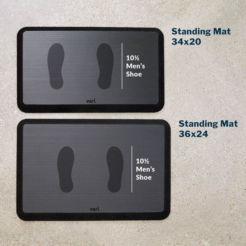 Standing mat 34 by 20 with a mens size 10 and a half shoe print image number null