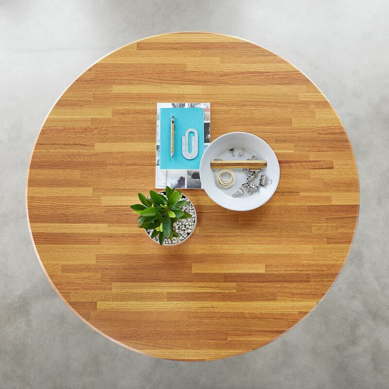 Overhead view of Standing Round Table Butcher Block in office image number null