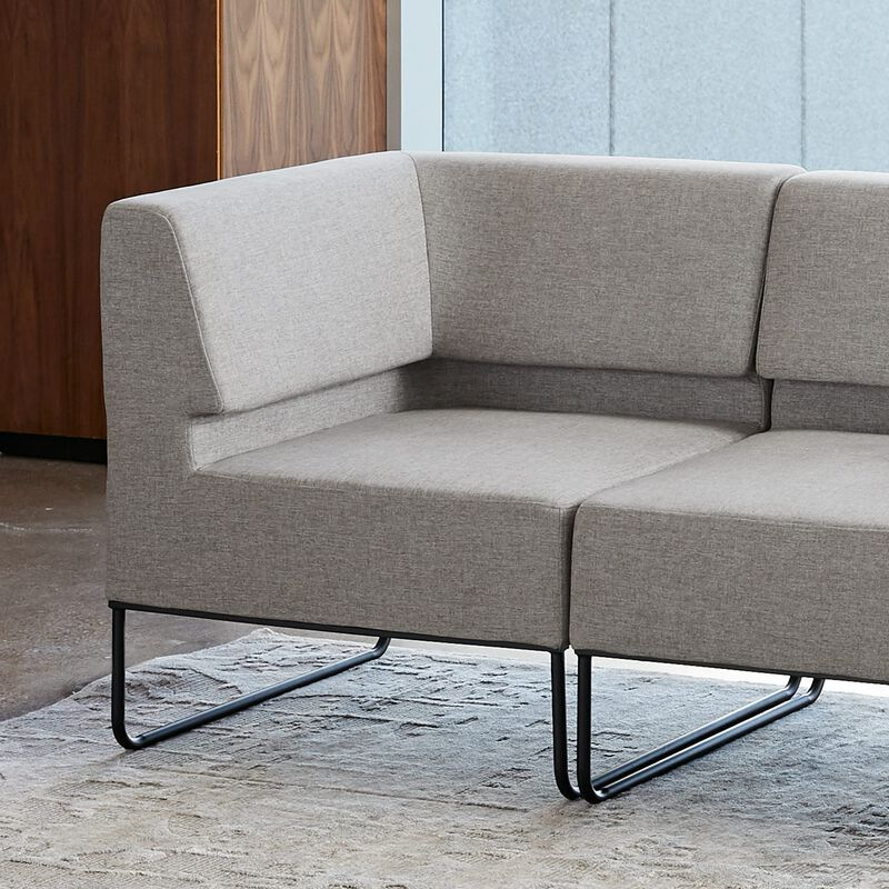 silver grey corner seat in office seating image number null