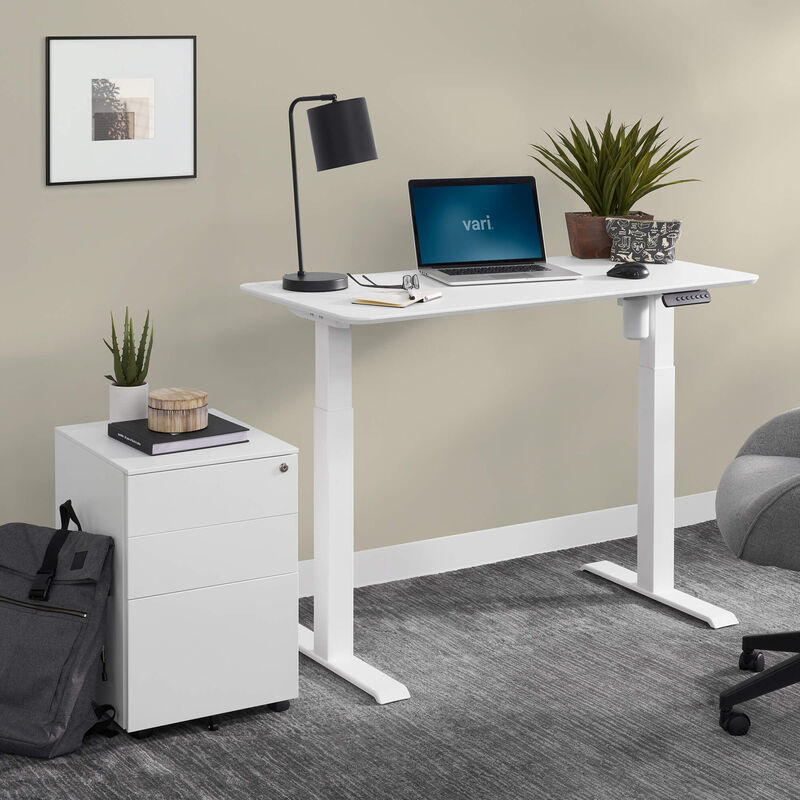 Budget friendly home office setup includes an essential electric standing desk 48 by 24 and an essential file cabinet image number null