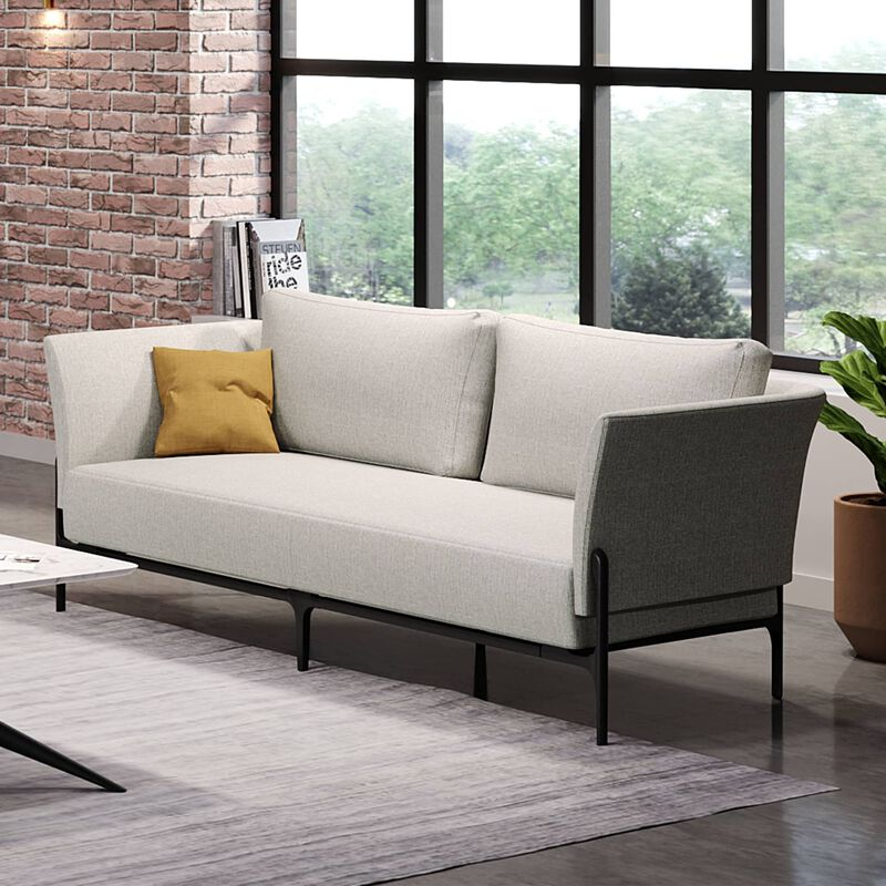 contemporary three-seat sofa in silver grey placed in office setting with windows image number null