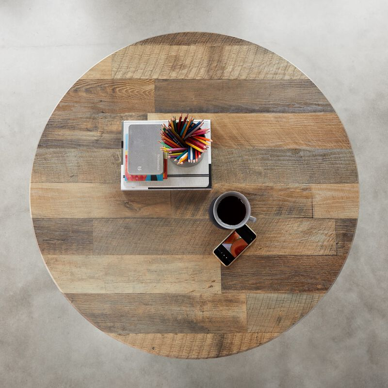 Overhead view of Round Table Reclaimed Wood image number null