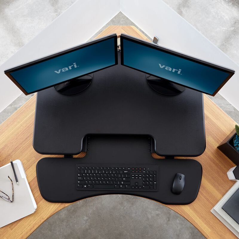 Overhead view of VariDesk® Cube Corner® 36 in office image number null