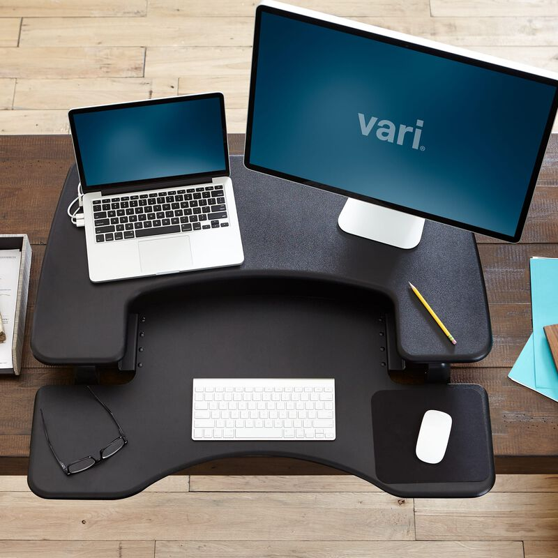 VariDesk® Pro Plus™ 36 Black sit-stand desk converter overhead view image number null