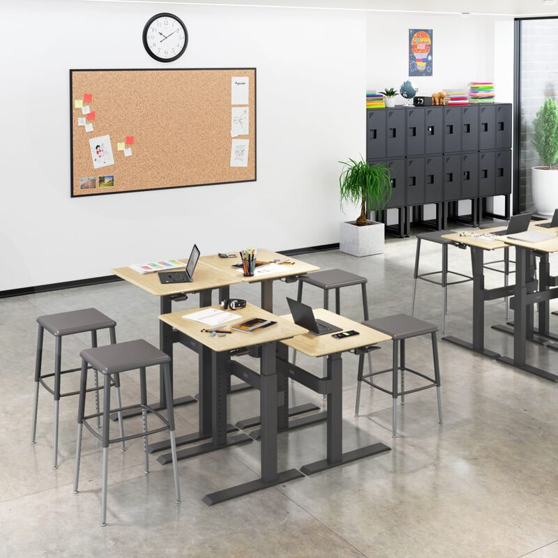Group of Sit-Stand School Desk 3-12 Maple in classroom at school image number null