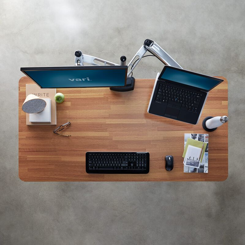 Overhead view of Electric Standing Desk 60x30 Butcher Block image number null