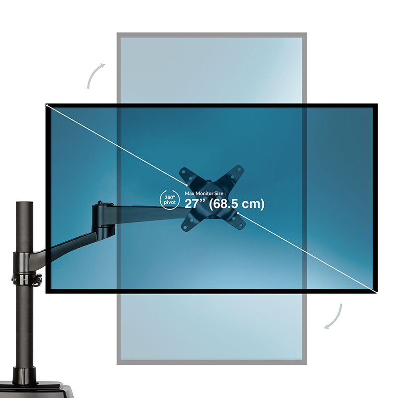 Dual-Monitor Arm 180° Black can hold 27 inch monitors image number null