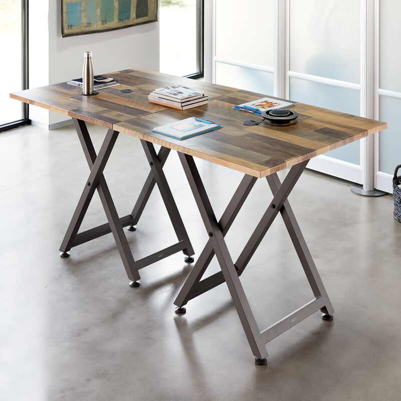 Two Standing Meeting Tables Reclaimed Wood joined together in office image number null