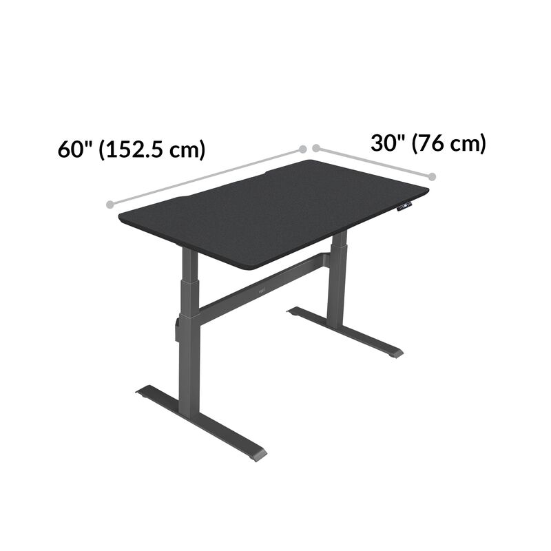 Electric Standing Desk 60x30 Black base is 30 inches deep and 60 inches wide image number null