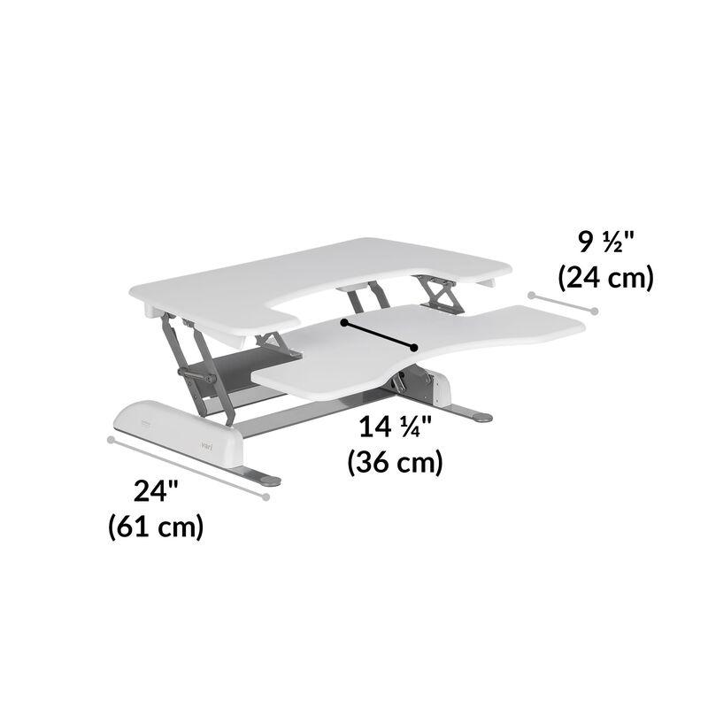 VariDesk® Pro Plus™ 36 White depth of desk base is 24 inches image number null