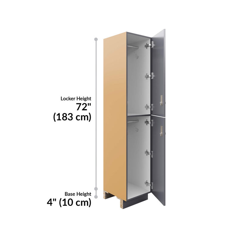 two-tier locker is 72 inches tall and the base height is 4 inches image number null