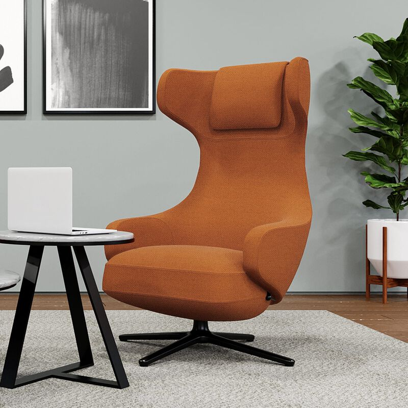 Burnt orange high back lounge chair in office setting  image number null