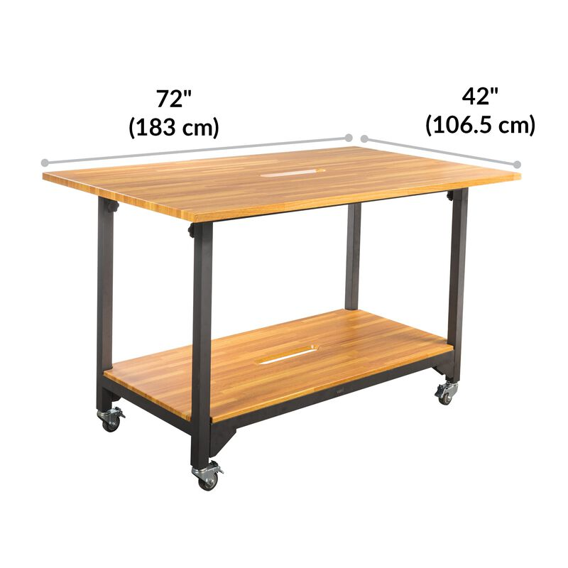 Standing Conference Table Butcher Block is 72 inches wide and 42 inches deep image number null