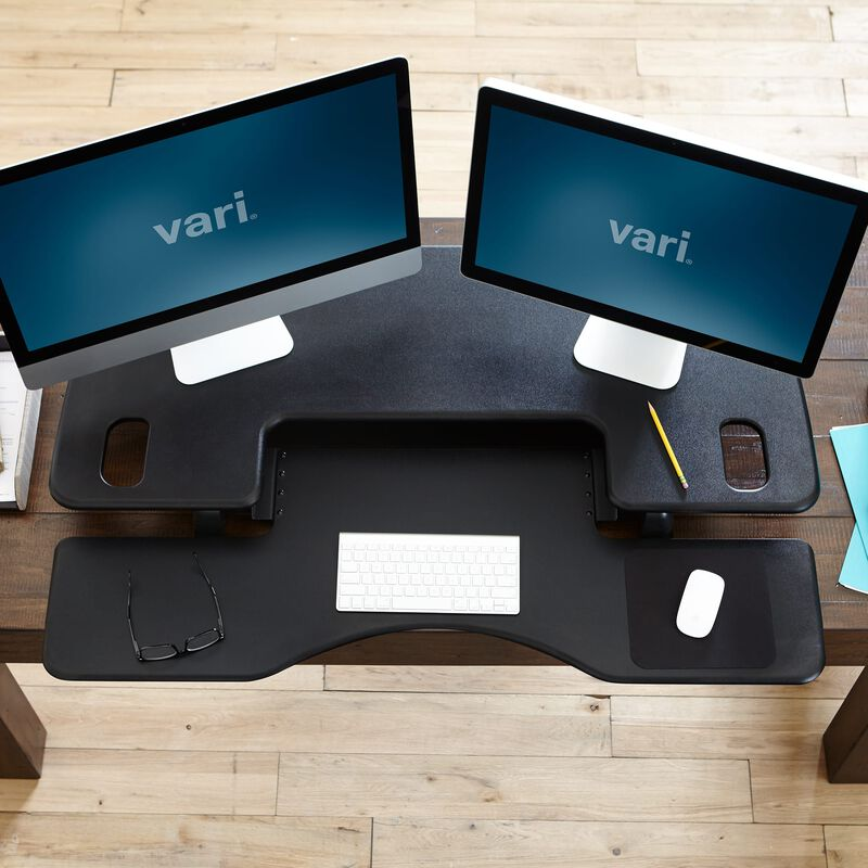 Overhead view of VariDesk® Pro Plus™ 48 Black in office image number null