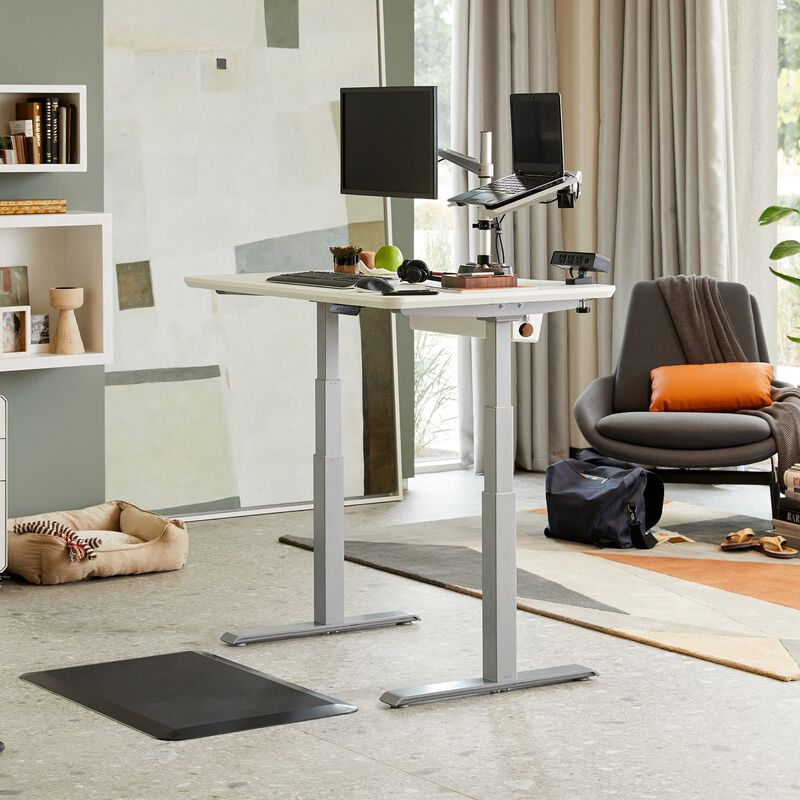 Electric Standing Desk 48x30 White in raised position at home image number null