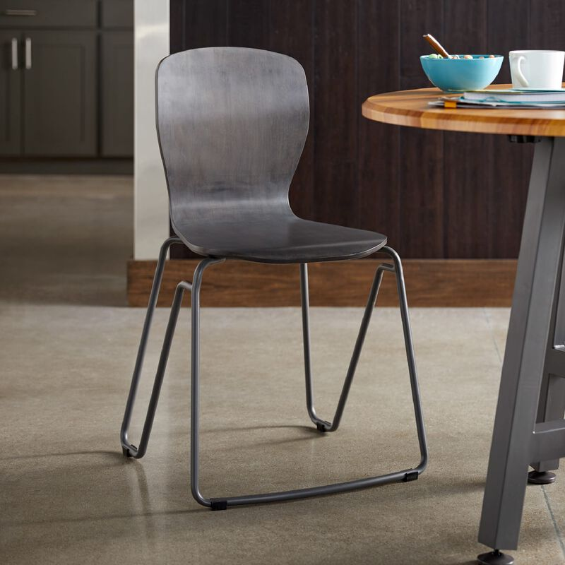 Wood Chair in Dark Gray in office image number null
