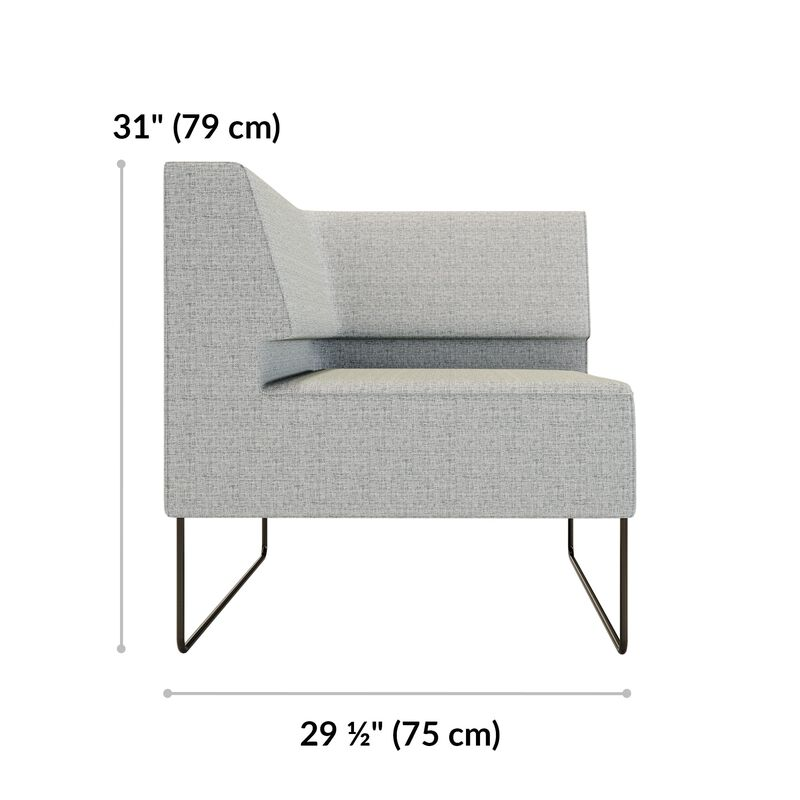 silver grey corner seat is 31 inches tall and 29 and a half inches wide  image number null