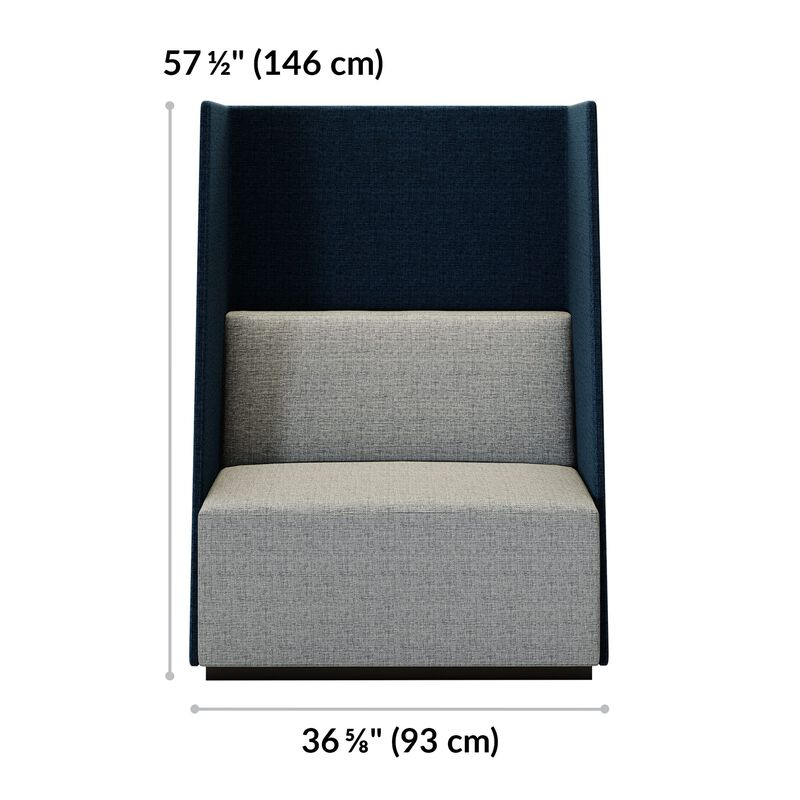 fabric high back chair is 57 and a half inches tall and 36 and 5 eigths inches wide image number null