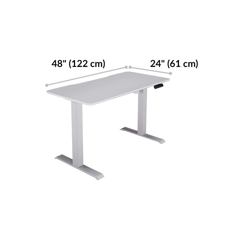 vari essential electric standing desk is 48 inches wide and 24 inches deep  image number null