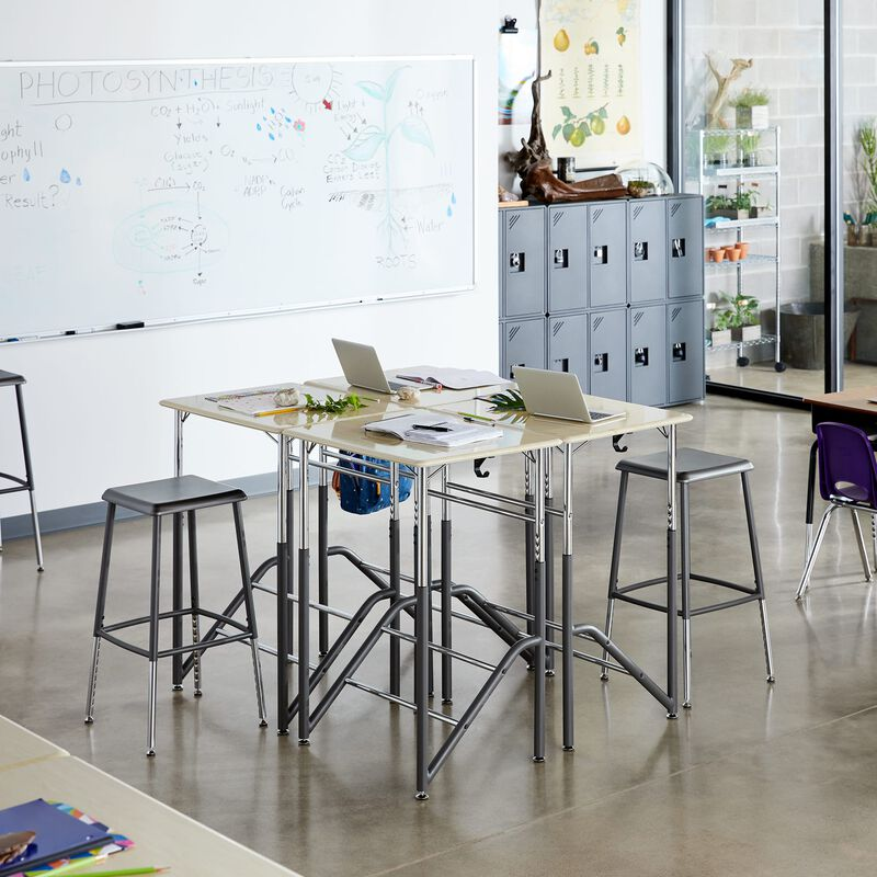 Group of Standing School Desks 5-12 Maple in classroom at school image number null