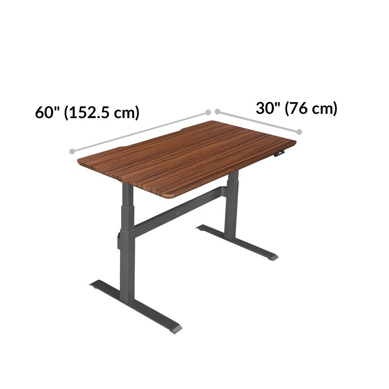 Electric Standing Desk 60x30 Darkwood base is 30 inches deep and 60 inches wide image number null