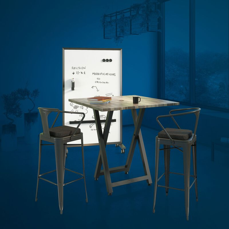 Standing height meeting table, two conference chairs, and mobile glass board in office image number null