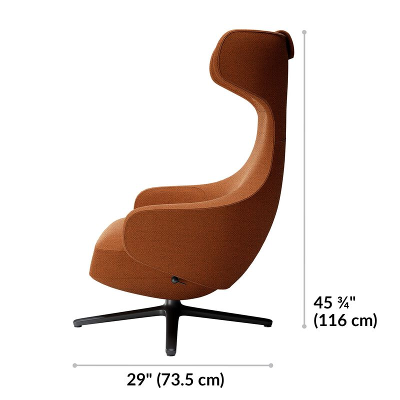 Burnt orange high back lounge chair is 45 and 3 quarter inches tall and 29 inches deep image number null