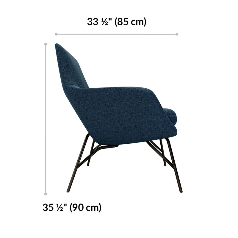 navy arm chair is 33 and a half inches deep and 35 and a half inches tall image number null