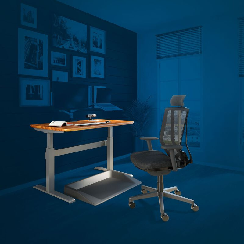 Office setup includes the Electric Standing Desk 48x30, task chair with headrest and accessories shown with a blue background. image number null
