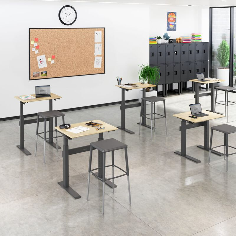 Sit-Stand School Desk 3-12 Maple in classroom at school image number null