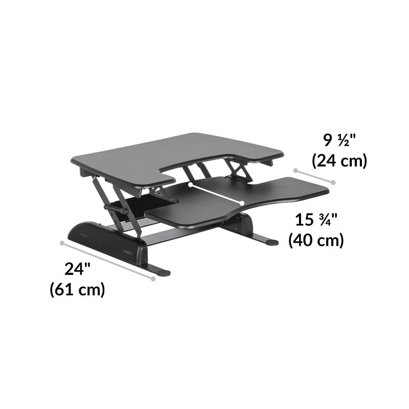 VariDesk® Pro Plus™ 30 Black base is 24 inches deep image number null