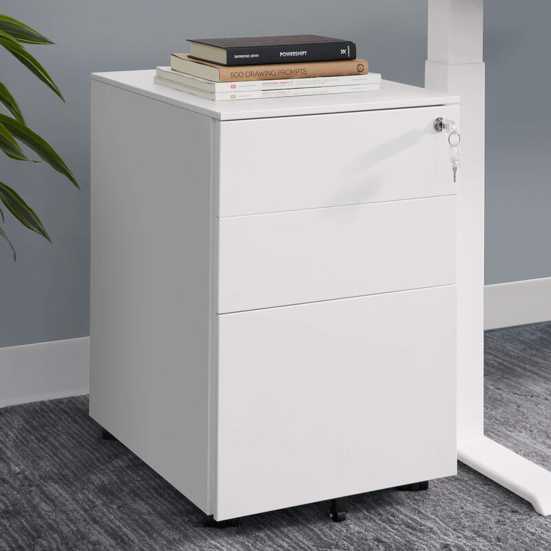 white essential file cabinet in office setting image number null