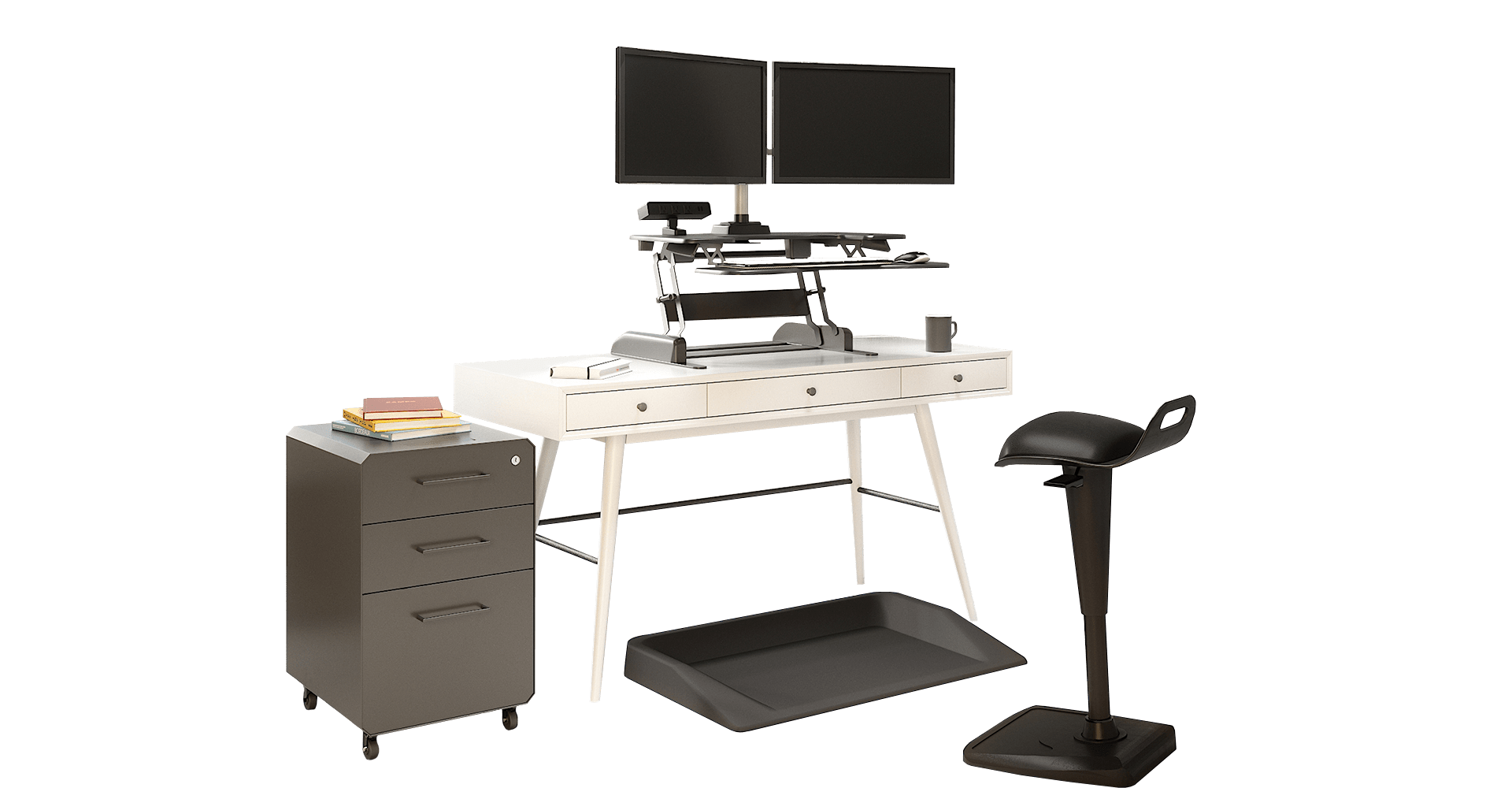 open office space with desktop converters