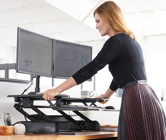 professional in office raising varidesk converter