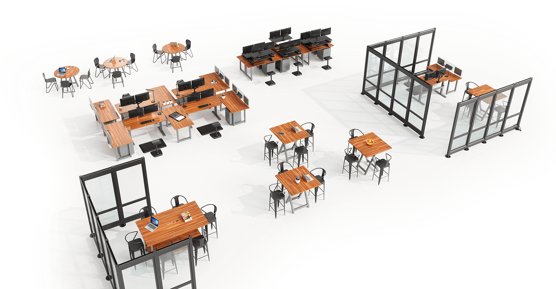 a rendering of an open office layout with many spaces, including a private office, benched desks, breakroom and meeting spaces. the spaces are delineated with quickflex walls on a white background.