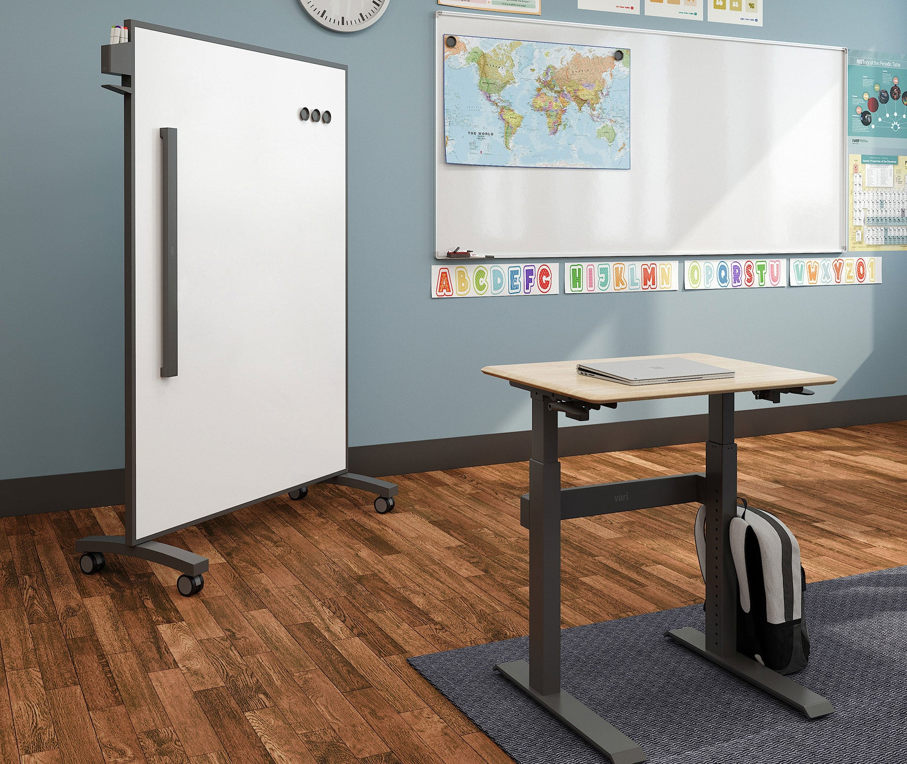 classroom with active standing desks