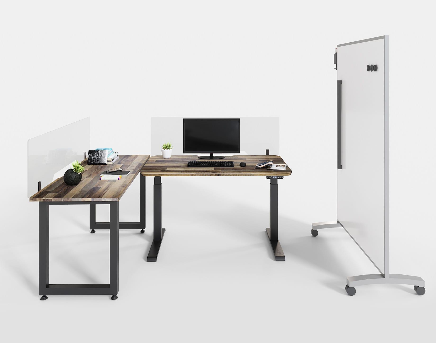 open office space with desktop converters