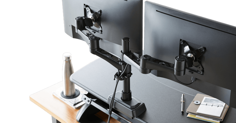 dual monitor arm 180 with a flat design to keep it flush with walls