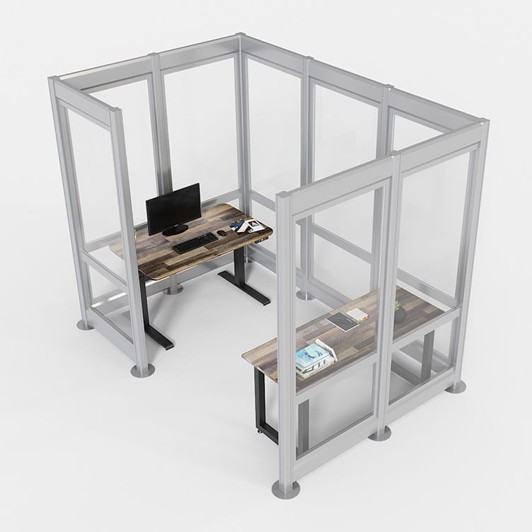 quickflex walls by vari surround a private office with electric standing desk